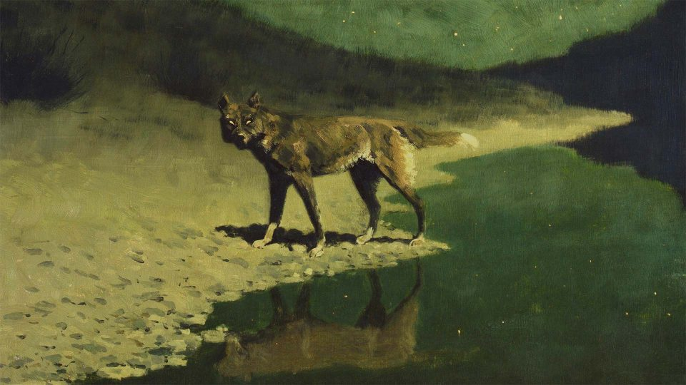 Frederic-Remington-Moonlight-Wolf