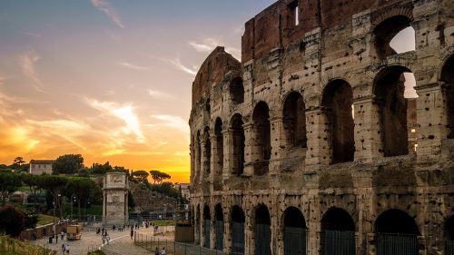 The Roman Sunset and Colosseum